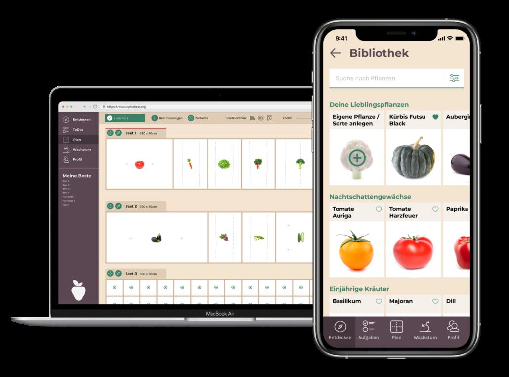 Laptop und Smartphone mit geöffneter alphabeet Anwendung