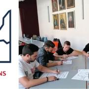 Logo des INNOVATIONSSTARTERS mit Bild von arbeitenden Personen