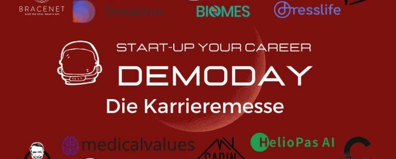 Demoday Flyer mit Logos der teilnehmenden Startups